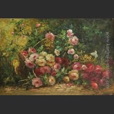 Английский натюрморт с корзиной, полной роз