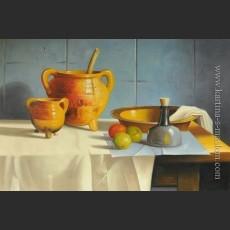 Натюрморт с глиняной посудой