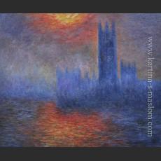 Здание парламента, Лондон. Солнце, пробивающееся сквозь туман — Моне, Клод Оскар