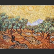 Оливковые деревья с желтым небом и солнцем — Ван Гог, Винсент Виллем